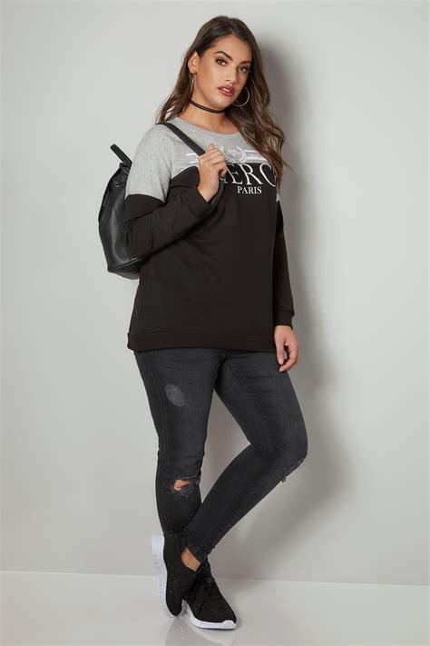 Schwarz & Grau Slogan Pullover, In Großen Größen 44 Bis 64