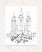 Temple Lds Salt Lake Coloring Printable Utah Pdf Adult Temples Digital Printables Books Graphic sketch template