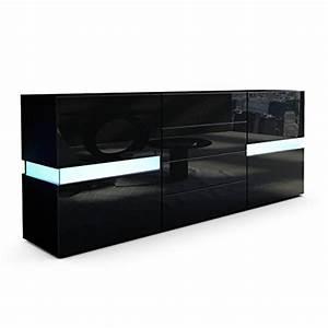 Sideboard Schwarz Matt : sideboard kommode flow korpus in schwarz matt front in schwarz hochglanz inkl led ~ Orissabook.com Haus und Dekorationen