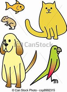 Clipart Vector of Five Cartoon Pets - Five common house ...