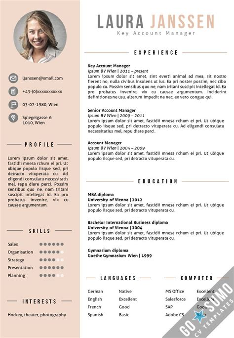 11880 creative professional resume templates 25 best ideas about cv template on layout cv