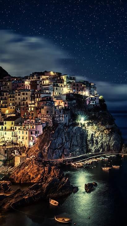 4k Italy Night Manarola Wallpapers Iphone Android