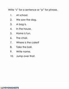 Sentence Or Phrase Worksheet Worksheet