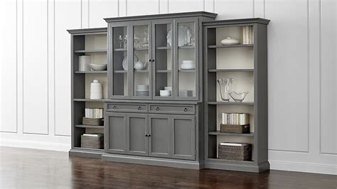 Bookcases With Sliding Glass Doors Cameo 4 Piece Grey Glass Door Wall Unit W Open Bookcases Crate And Barrel