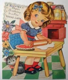 baking  pie vintage birthday cards vintage birthday