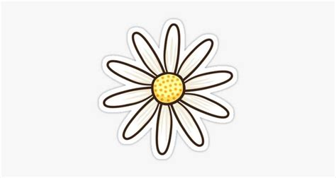 White Daisy Flower Sticker - Redbubble Stickers PNG Image ...