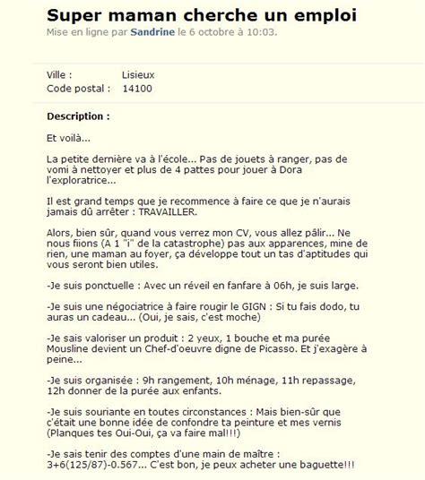 Femme Au Foyer Sans Enfant by Le Cv D Une Maman Publi 233 Sur Le Bon Coin Fait Le