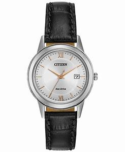 Citizen Women's Eco-drive Black Leather Strap Watch 29mm ...