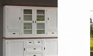 Vaisselier Blanc Et Bois : rehausse vaisselier contemporain blanc en bois massif horus ~ Nature-et-papiers.com Idées de Décoration
