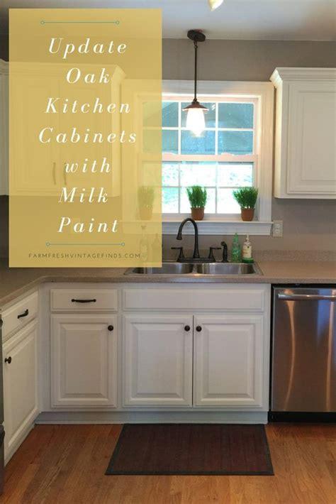 milk painted kitchen cabinets painted oak kitchen cabinet reveal farm fresh vintage 7503