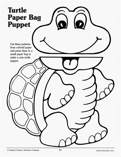 paper bag puppet templates page 2 successsprinters franklin the turtle