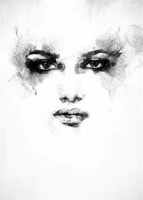 beautiful woman face watercolor illustration wall mural