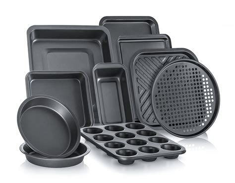 bakeware baking pans stick non cake tray sets kitchen pizza round oven piece sheet bake square amazon cookie ware roasting