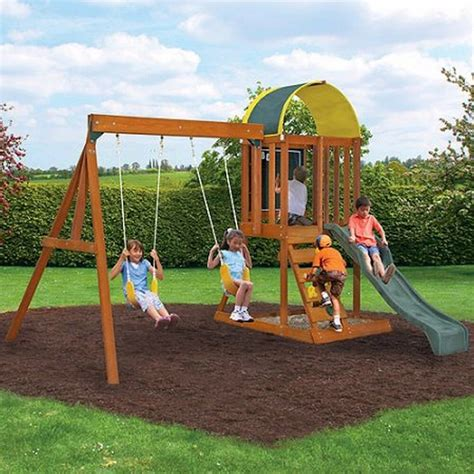 Children Swing by Wooden Outdoor Swing Set Playground Swingset Playset