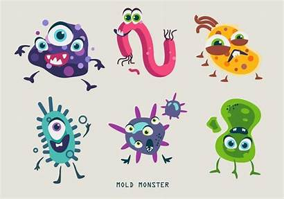 Vector Bacteria Mold Monster Character Illustration Germs