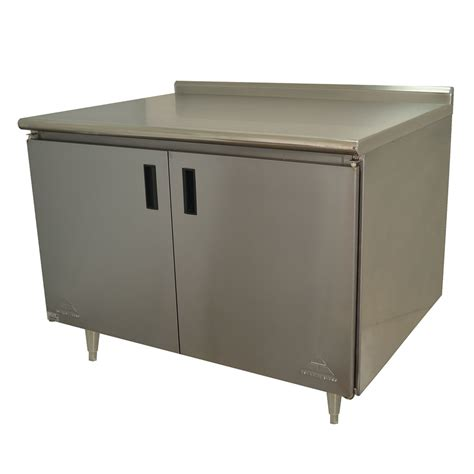 industrial kitchen backsplash advance tabco hk ss 303 36 quot enclosed work table w swing 1836