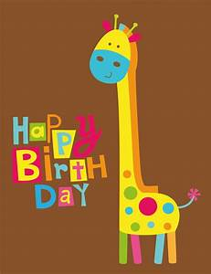 Cute Happy Birthday Card With Fun Giraffe Wall #11646 ...