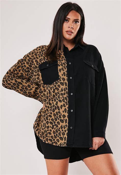 Plus Size Black Leopard Print Denim Shirt | Missguided