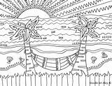 Coloring Pages Beach Sunset Simple Decoration Printable Print Sheets Getcolorings sketch template