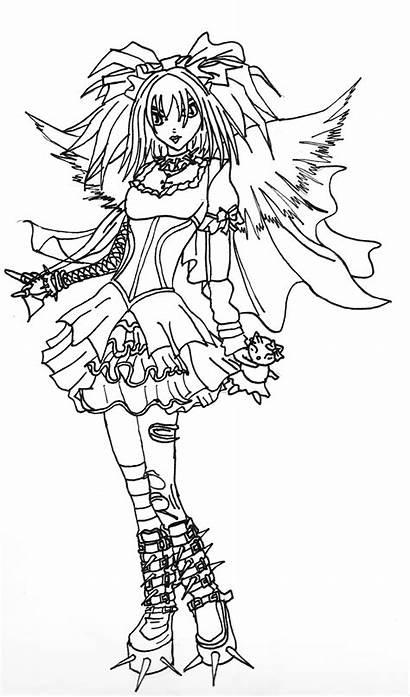 Gothic Coloring Angel Adults Dark Deviantart Line