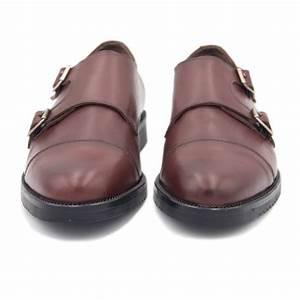 Leather Monk Strap Shoe      Burgundy  Euro  40