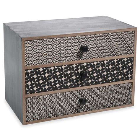 bo 238 te 3 tiroirs en bois noir h 17 cm alya maisons du monde