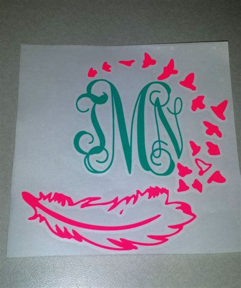 personalized monogram feather decal monogram sticker waterproof vinyl custom car decal