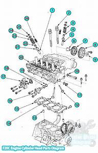 2003 Honda S2000 Cylinder Head Parts Diagram  F20c Engine