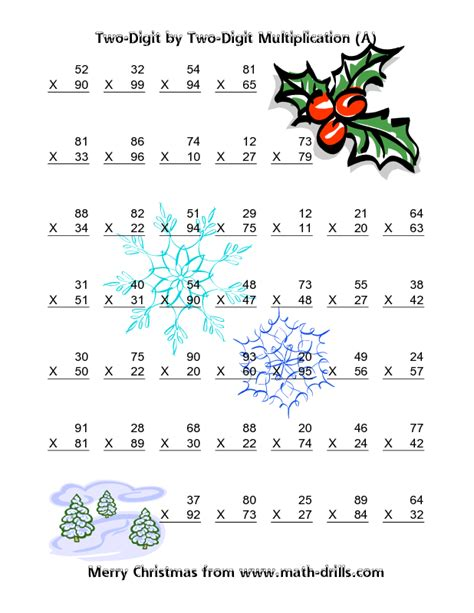 christmas worksheets math 5th grade christmas math worksheet multiplication two digit by