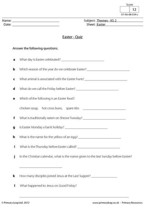 Easter  Fun Quiz Primaryleapcouk