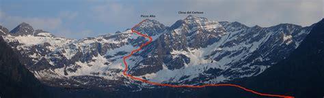Itinerario di salita al Pizzo Alto, in Val Lesina