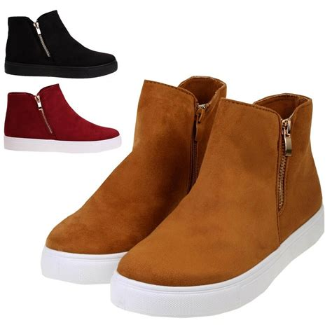 womens faux suede flat  heel casual sports trainer