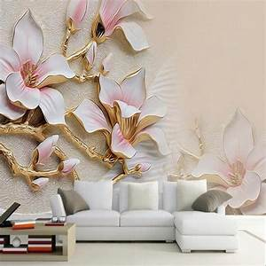 3D Wallpaper HD Embossed Magnolia Flowers Photo Mural Living Room Home Decor Wallpaper Modern ...