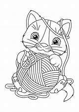 Yarn Coloring Cat Ball sketch template