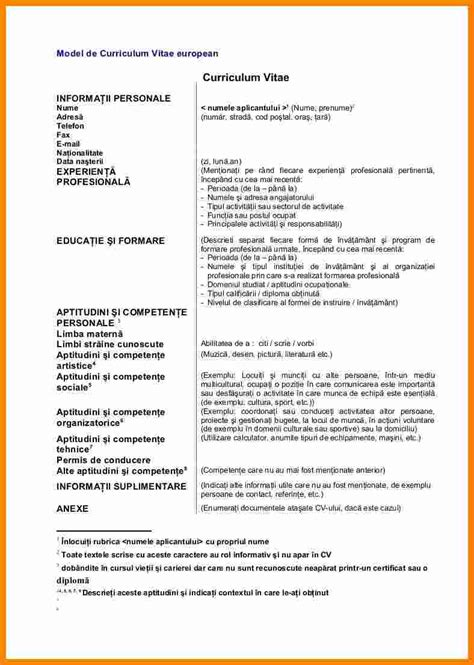 Cv Europass In Engleza Completat | Example Good Resume Template