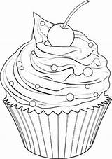 Cupcake Cupcakes Drawing Coloring Drawings Coloriage Ausmalen Zum Colorir Cakes Ice Printable Outline Nourriture Muffin Pintura Dibujos Kawaii Riscos Desenho sketch template