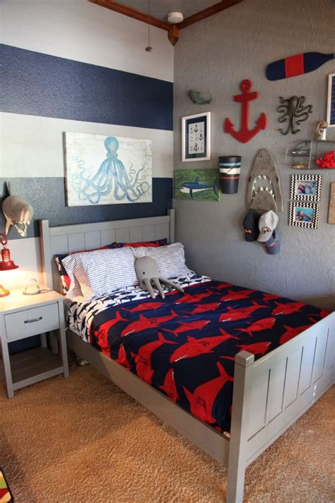 shark themed boys room   big boy rooms boys