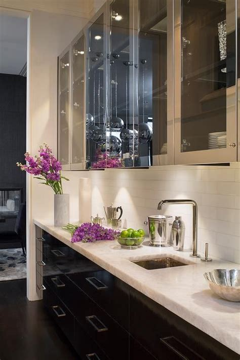 contemporary butlers pantry features stainless steel