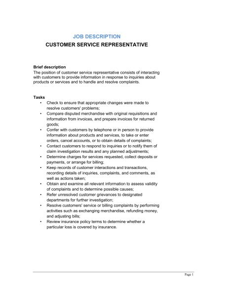 customer service representative description template