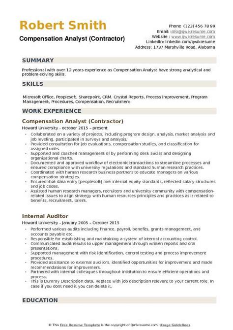 100 compensation summary template effective