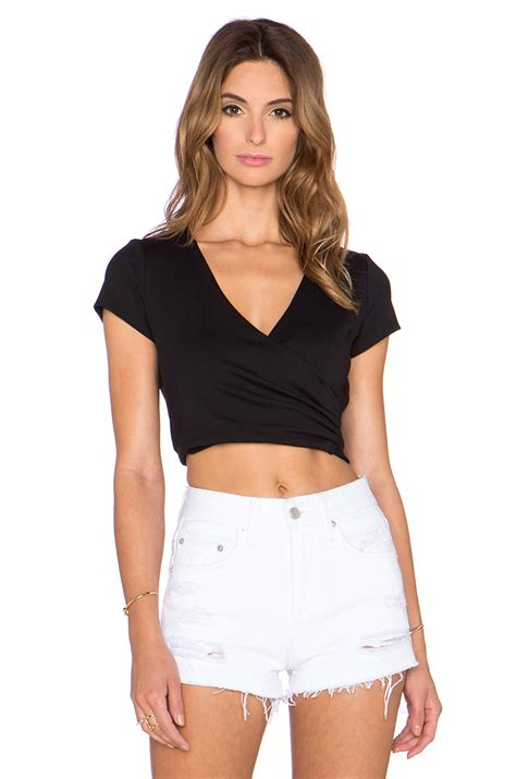 blouse susana susana monaco wrap crop top in black lyst
