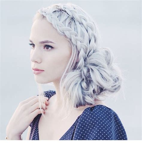 Awesome Beautiful Braid Bun Girls Grey Hair