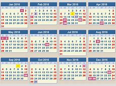 CALENDAR 2016 School terms and holidays South Africa