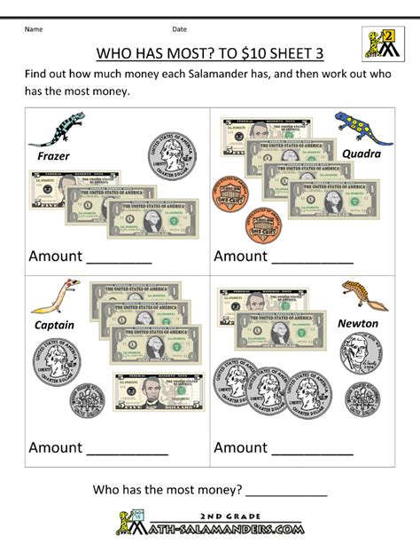 2nd grade adding and subtracting money worksheets