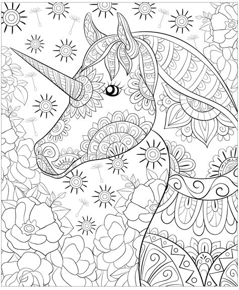 cute unicorn  flowes unicorns adult coloring pages