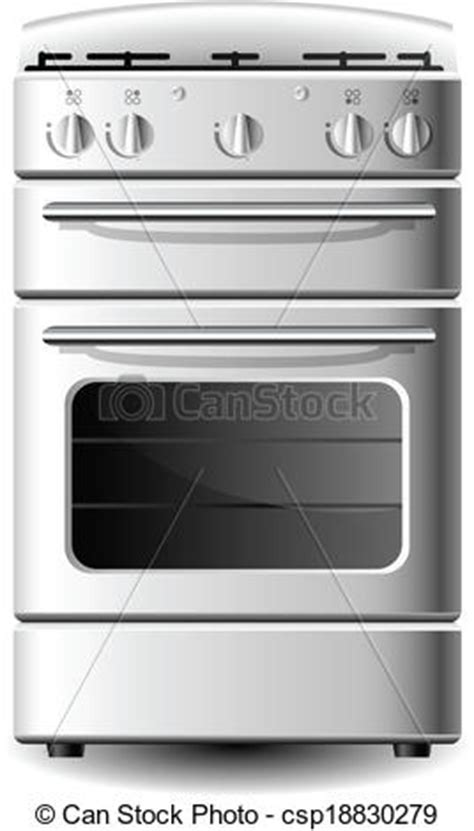 White kitchen stove from front view isolated on white.