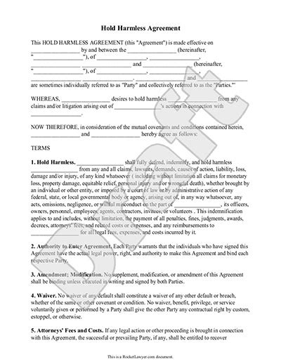 hold harmless agreement template letter  sample