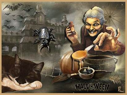 Witch Scary Halloween Gifs Animated Animations Ru