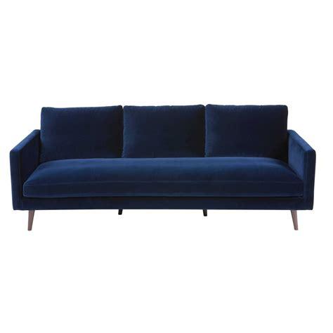 canapé bleu nuit canapé 4 places en velours bleu nuit kant maisons du monde