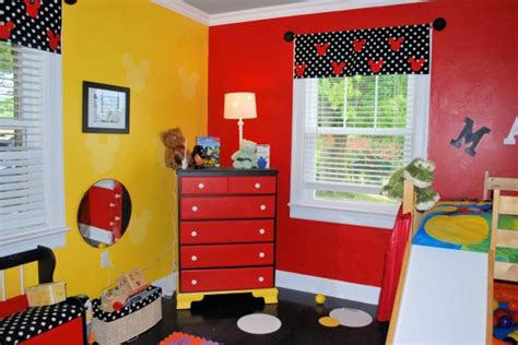 mickey mouse bedroom decorating ideas with valance curtains and yellow colors and chest of